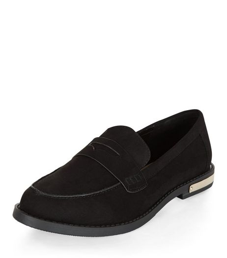 Black Metal Trim Loafers  | New Look