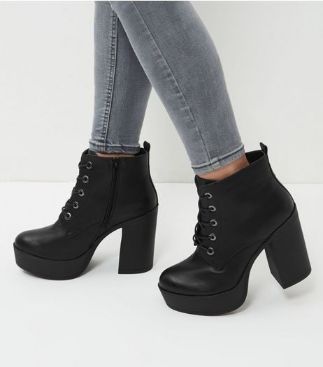 Wide Fit Black Leather-Look Lace Up Block Heel Boots | New Look