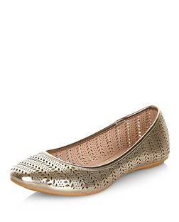 Wide Fit Gold Laser Cut Out Pumps  | New Look