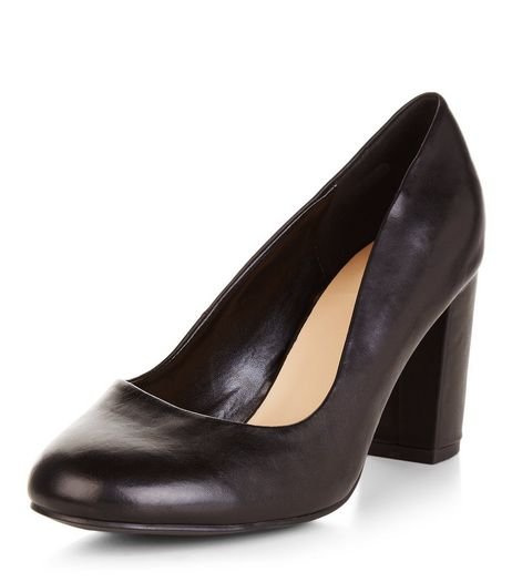 Wide Fit Black Leather Court Shoes  | New Look