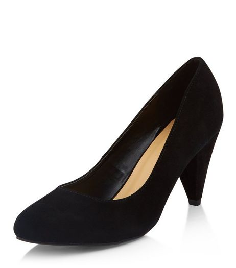Wide Fit Black Suede Court Shoes  | New Look