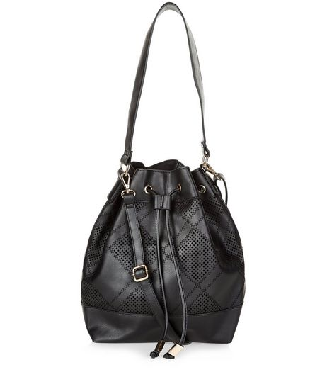 Black Leather-Look Patchwork Duffle Bag | New Look