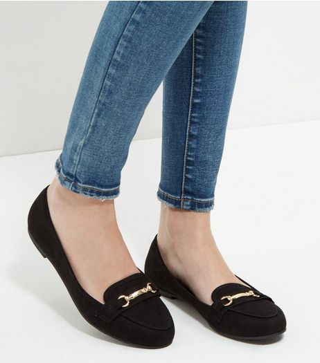 Black Suedette Bar Strap Loafers  | New Look