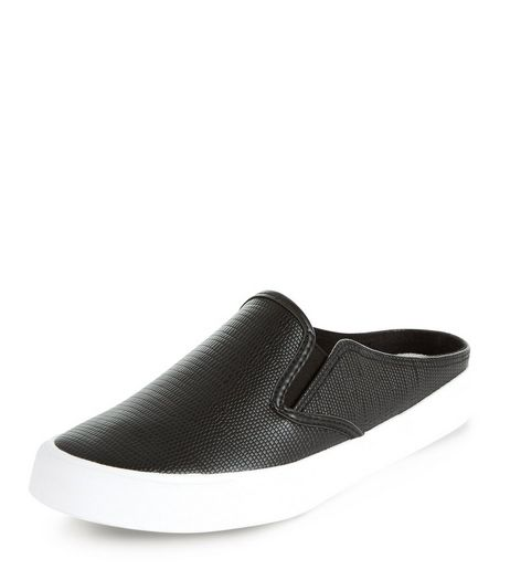 Black Textured Slip On Plimsolls | New Look