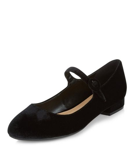 Black Velvet Strap Front Pumps  | New Look