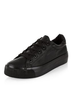 Black Leather-Look Lace Up Plimsolls | New Look