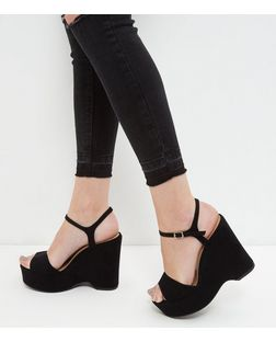 Wide Fit Black Suedette Chunky Wedge Sandals  | New Look