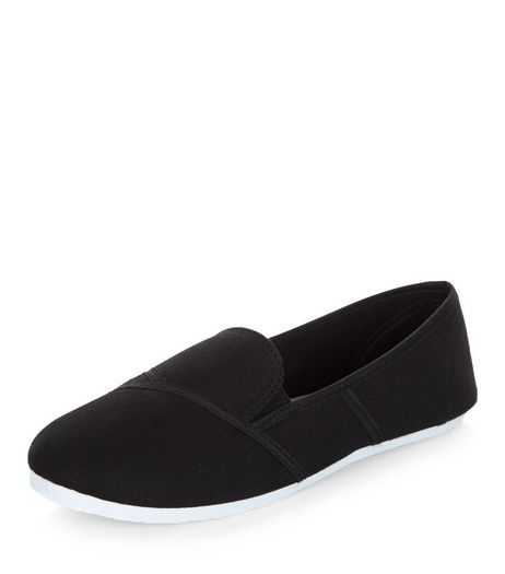 Black Slip On Plimsolls  | New Look