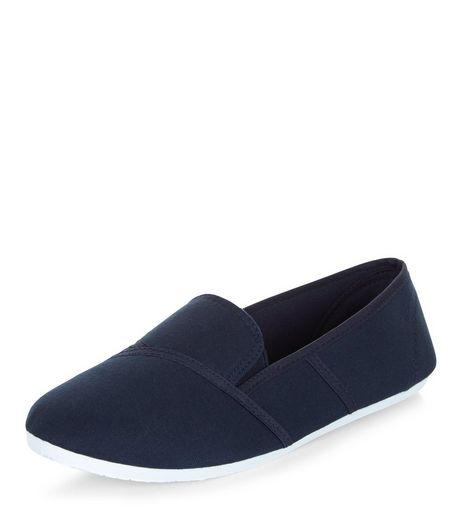 Navy Slip On Plimsolls  | New Look