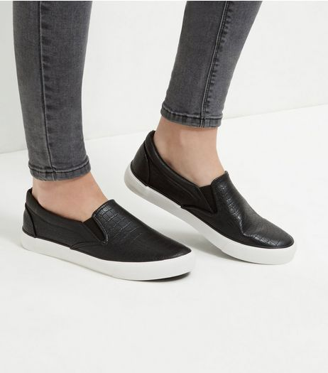 Black Croc Texture Slip On Plimsolls  | New Look