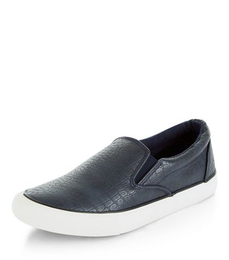 Navy Croc Texture Slip On Plimsolls  | New Look