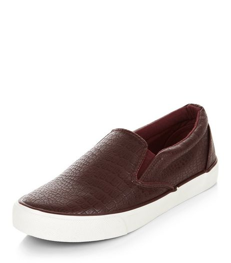 Burgundy Croc Texture Slip On Plimsolls  | New Look