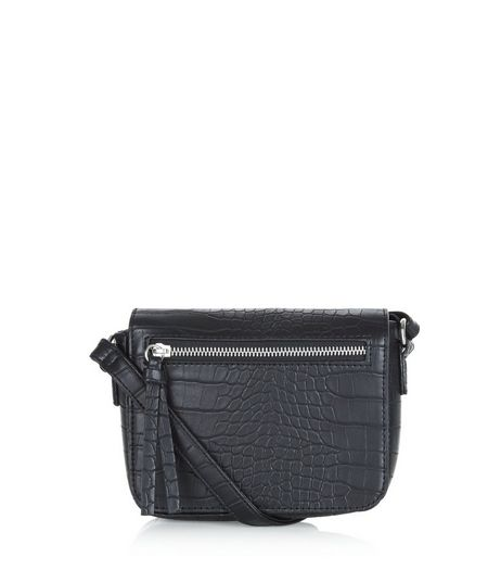 Black Snakeskin Texture Across Body Bag | New Look