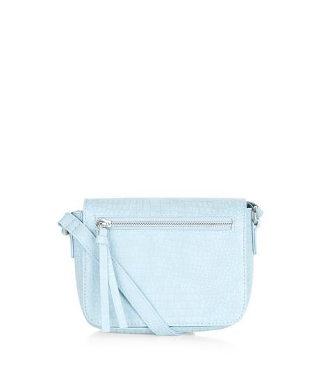 Pale Blue Snakeskin Texture Across Body Bag | New Look