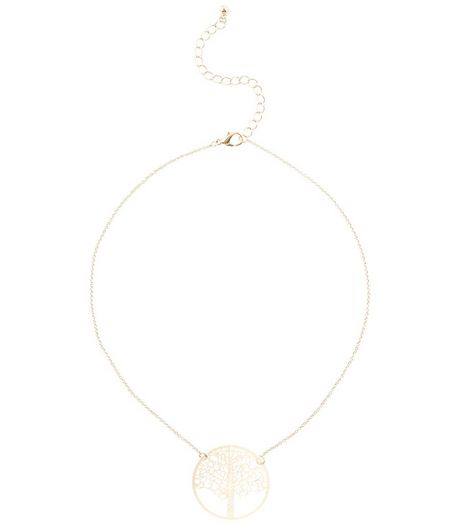 Gold Cut Out Tree Disc Necklace | New Look