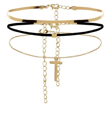 3 Pack Gold Suede Cross Chokers | New Look