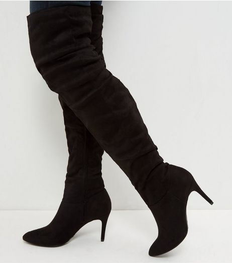 Black Suedette Ruched Pointed Over The Knee Boots  | New Look