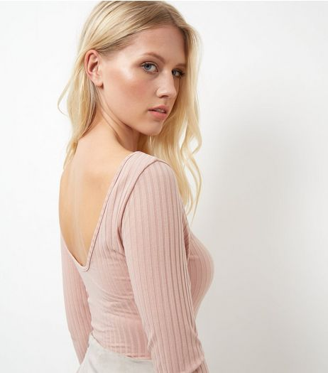 Pink Ribbed Scoop Back Bodysuit  | New Look