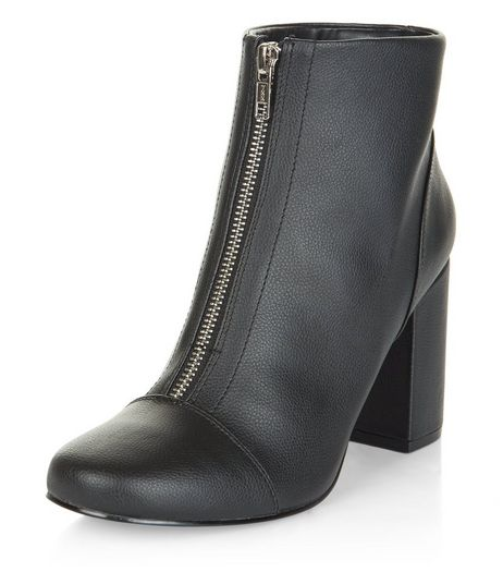 Black Zip Front Block Heel Ankle Boots | New Look