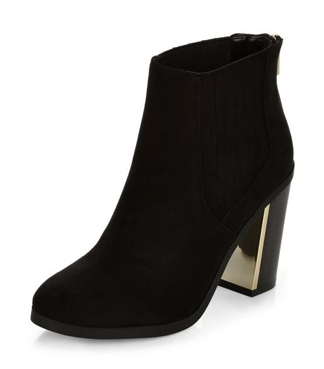 Black Metal Trim Block Heel Chelsea Boots  | New Look