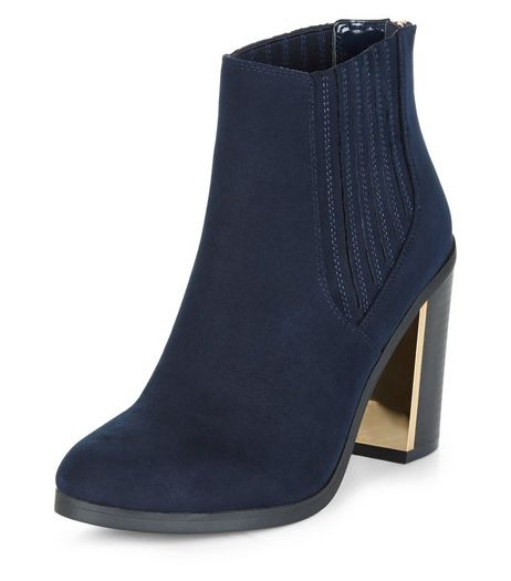 Navy Metal Trim Block Heel Chelsea Boots  | New Look