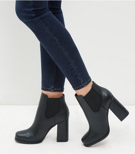Black Leather- Look Flared Heels  | New Look
