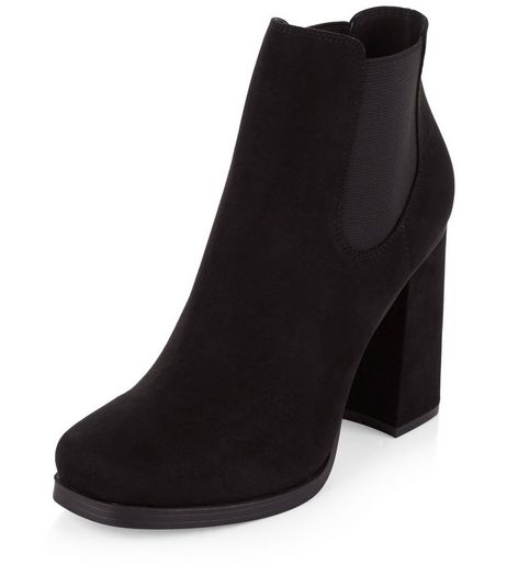 Black Suedette Flared Heel Chelsea Boots  | New Look