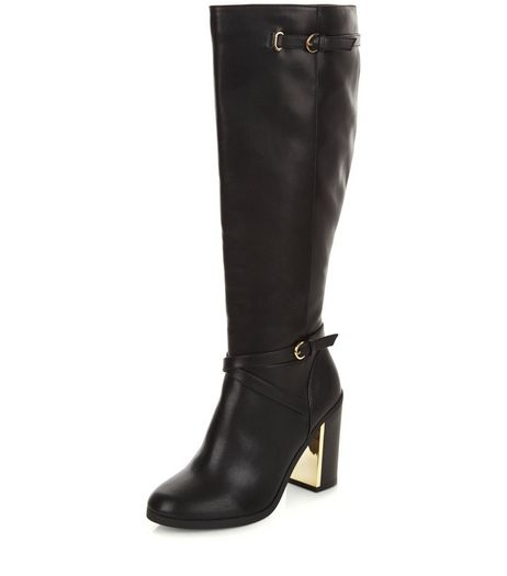 Black Metal Trim Block Heel Knee High Boots  | New Look