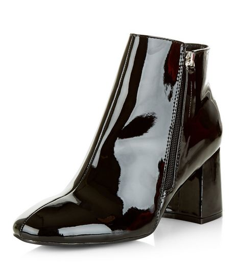Black Patent Flared Block Heel Ankle Boots | New Look