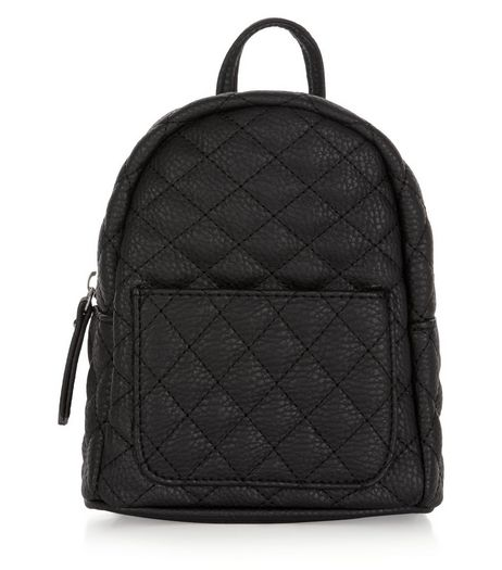 Black Quilted Curved Mini Backpack  | New Look