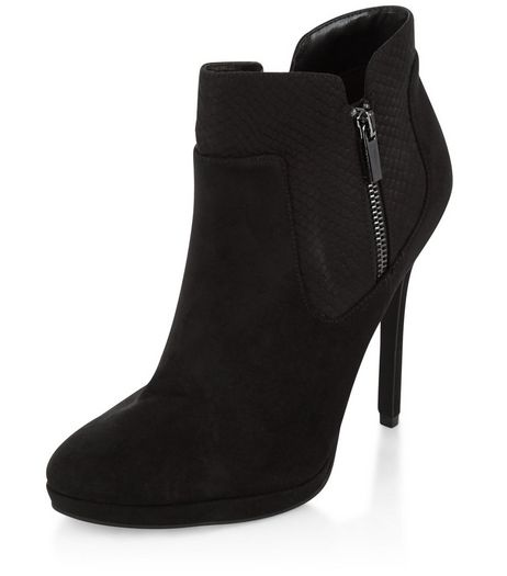 Black Suedette Zip Ankle Boots | New Look