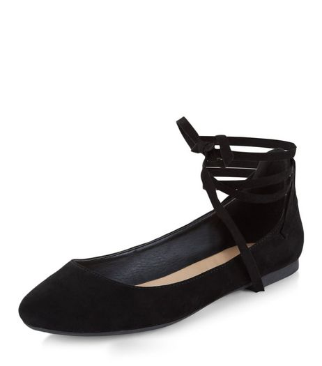 Black Lace Up Ballet Pumps | New Look