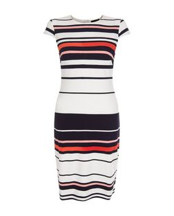White Stripe Bodycon Midi Dress  | New Look