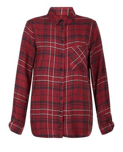 Red Check Freedom Slogan Long Sleeve Shirt  | New Look