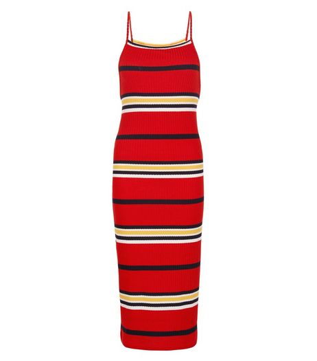 Red Ribbed Stripe Strappy Midi Dress  | New Look