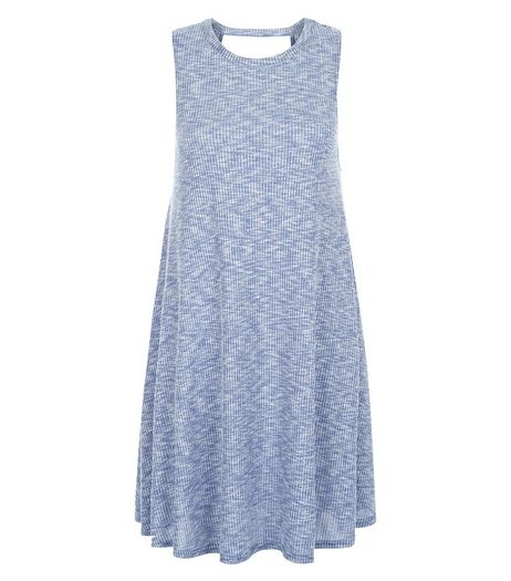 Blue Ribbed Cut Out Back Swing Dress  | New Look