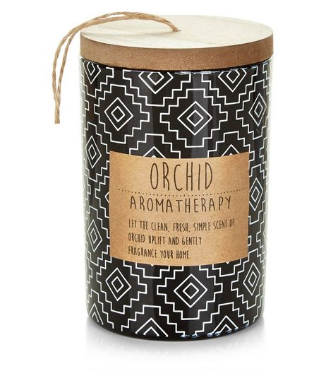 Black Tile Print Orchid Candle | New Look