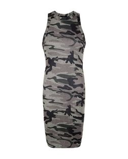 Green Camo Print Sleeveless Bodycon Mini Dress  | New Look