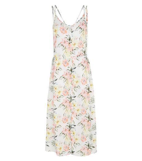 White Tropical Print Strappy Midi Dress | New Look