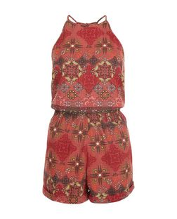 Red Tile Pirnt High Neck Playsuit  | New Look