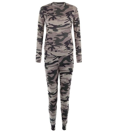 QED Green Camo Print Top and Jogger Set  | New Look