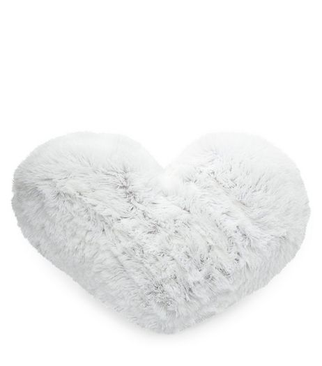 Grey Faux Fur Heart Cushion | New Look
