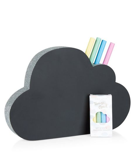 Black Glitter Cloud Chalkboard | New Look