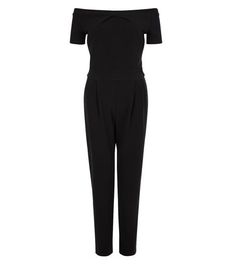 Cameo Rose Black Bardot Neck Jumpsuit | New Look
