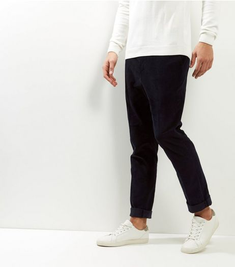 Navy Cord Trousers | New Look