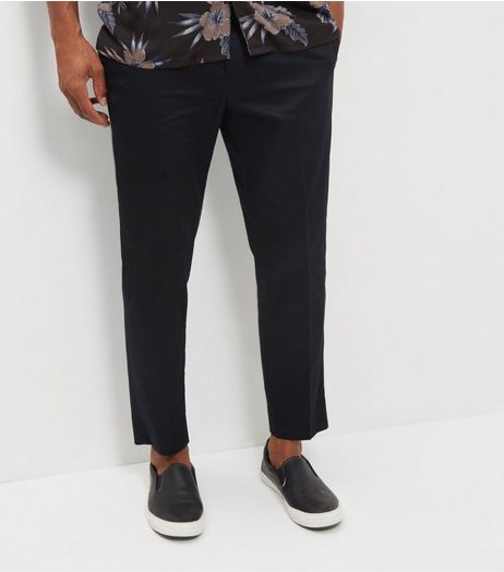 Black Smart Sateen Skinny Trousers | New Look