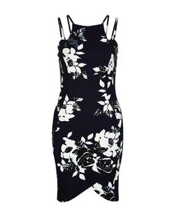 AX Paris Navy Floral Print Strappy Dress | New Look