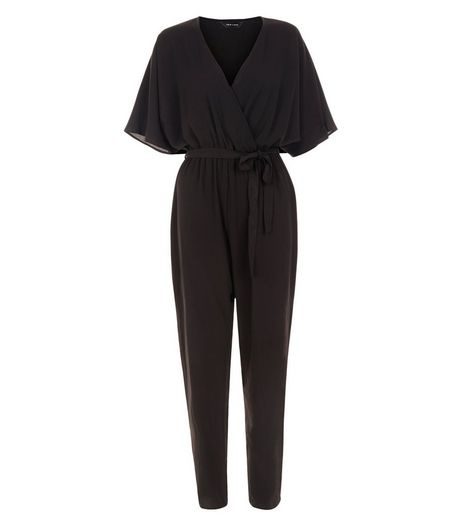 Black Wrap Batwing Jumpsuit | New Look