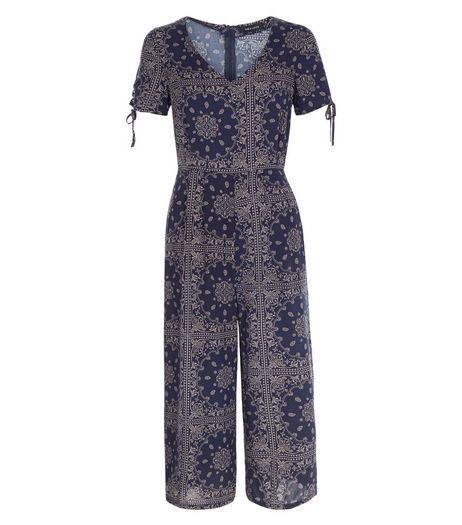 Blue Abstract Print V Neck Culotte Jumpsuit  | New Look
