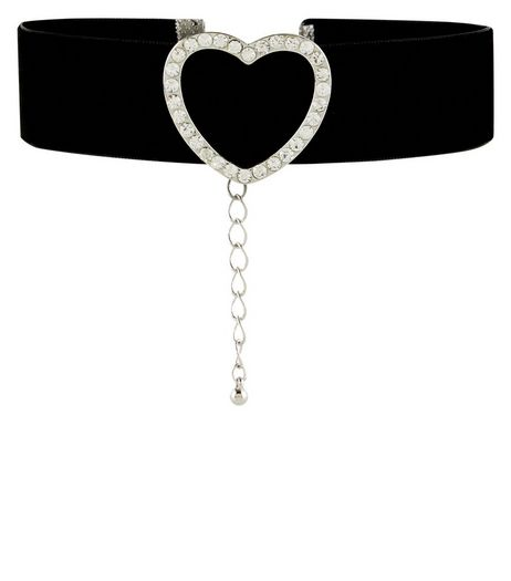 Black Diamante Heart Choker | New Look